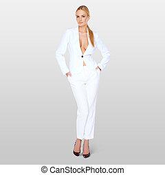 Elegant blond woman in a revealing jacket