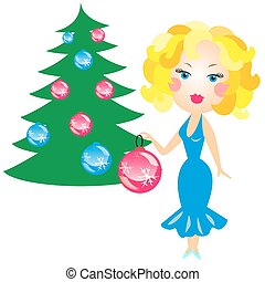 elegant blonde in a blue dress decorated with Christmas tree...