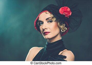 elegant, blonde , retro, vrouw, vervelend, weinig; niet zo(veel), hoedje, met, rode bloem