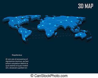 Elegant blue 3d vector World Map