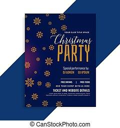 elegant blue christmas snowflakes flyer design template