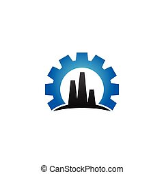 Elegant blue factory industrial logo design template vector