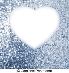 Elegant blue frame in the shape of heart. EPS 8