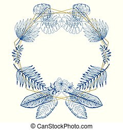 Elegant blue frame of tropical leaves and polygons