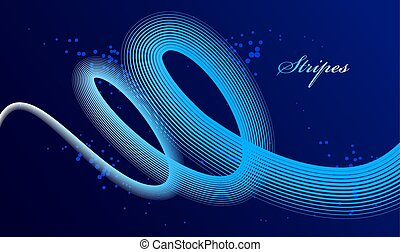 Elegant blue lines vector dimensional abstract background, 3D dynamic curve stripes in motion beautiful design element, template for banner or poster and other ads.