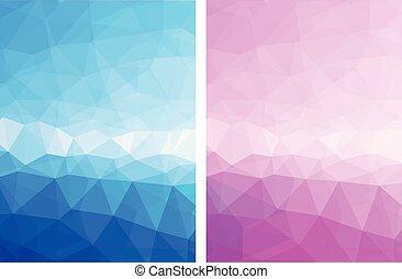 Elegant blue pink abstract vector background set