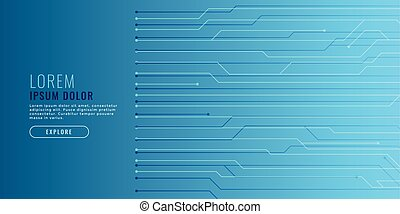 elegant blue technology background with circuit lines