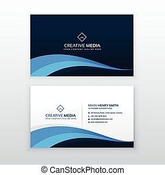 elegant blue wave business card design template