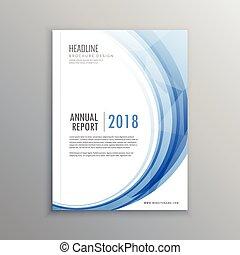 elegant blue wave shape business brochure template