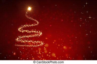 elegant, boompje, kerstmis, achtergrond, rood