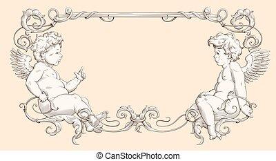 Elegant border frame with cupids for weddings, Valentine`s ...