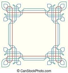 Elegant border, wireframe, lines frame
