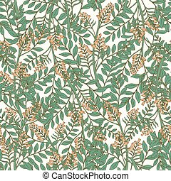 Elegant botanical seamless pattern with acacia inflorescences and leaves. Backdrop with beautiful blooming flowers on white background. Natural vector illustration in antique style for fabric print.