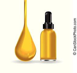 Bottle and Oil drop vector illustration.