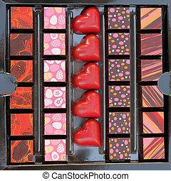 elegant box of luxury decorated chocolates