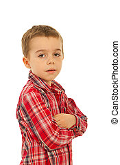 Elegant boy with arms folded