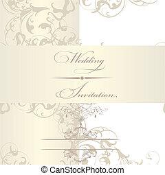 elegant, bröllop, kort, inbjudan