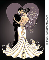 elegant bride and fiance on a background with heart
