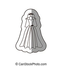 elegant bride dress with veil icon