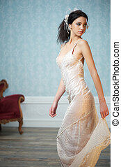 Elegant Bride Looking Over her Shoulder