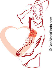 Elegant bride with bouquet in hand - Silhouette of a elegant...