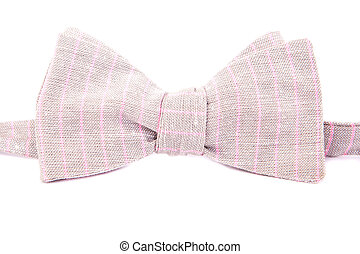 elegant bright striped bow tie made ??of linen isolated on