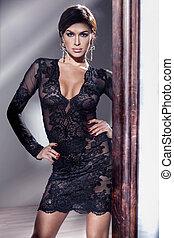 Elegant brunette girl posing.