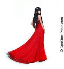 elegant, brunette, meisje, het poseren, in, rood, prachtig, jurkje, vrijstaand, op wit