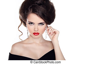 Elegant brunette woman with red lips and romantic hairstyle isolated on white background