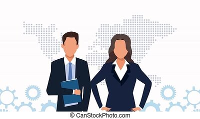 elegant business couple with gears and world planet maps animation
