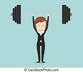 Elegant business woman lifting barbell above head
