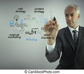 Elegant businessman drawing the production cycle of a...