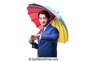Elegant businessman holding umbrella isolated on white