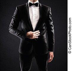 Elegant businessman - Sexy elegant businessman with bow tie...