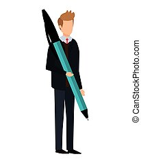 elegant businessman with big pen