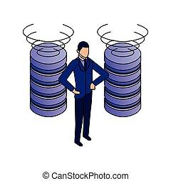 elegant businessman with data center disks