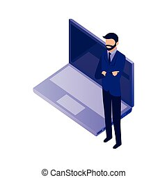 elegant businessman with laptop
