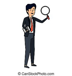 elegant businessman with magnifying glass