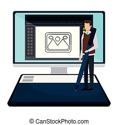 elegant businessman with pen in desktop