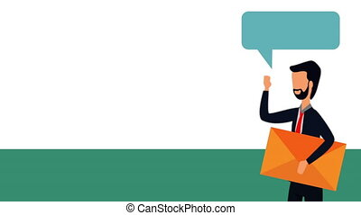 elegant businessman with speech bubble and envelope , hd...