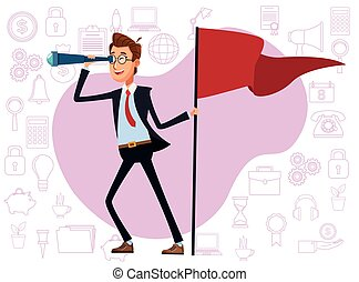 elegant businessman with success flag and monocular vector ...