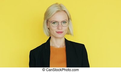 Elegant businesswoman in glasses - Beautiful young female in...
