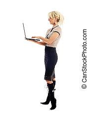 elegant, businesswoman, met, draagbare computer
