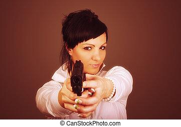 elegant, businesswoman, met, geweer