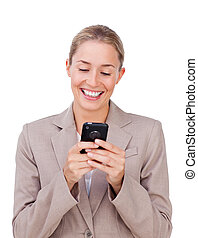 Elegant businesswoman sending a text
