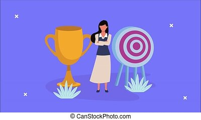 elegant businesswoman with target and trophy animation ,4k ...