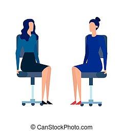 elegant businesswomen workers in office chairs