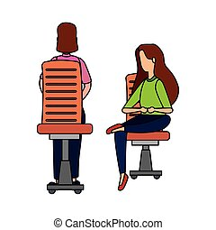 elegant businesswomen workers seated in office chairs