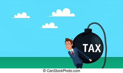 elegant businnessman lifting tax fetter character animated ,4k video animated