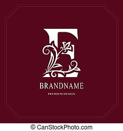 Elegant Capital letter E. Graceful floral style. Calligraphic beautiful logo. Vintage drawn emblem for book design, brand name, business card, Restaurant, Boutique, Hotel, Cafe. Vector illustration